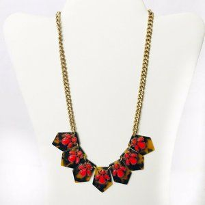 J Crew Tortoise Shell Statement Necklace Coral Red